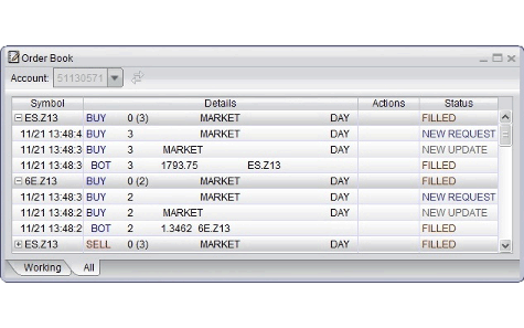 screenshot of order book displaying working orders for futures and options